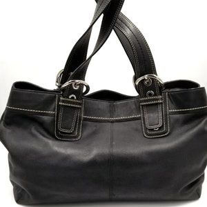 COACH - SOHO BLACK LEATHER PLEATED SHOULDER TOTE